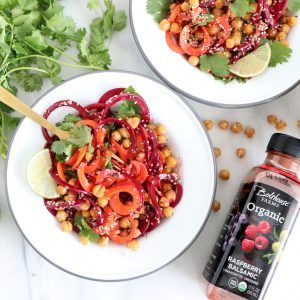 CARROT AND BEET SPIRALIZED SALAD WITH RASPBERRY BALSAMIC DRESSING