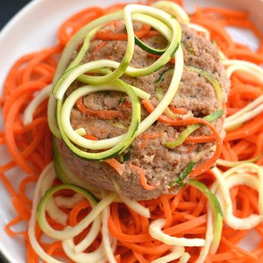 Spiralized Turkey Burgers with Zucchini & Carrots {GF, Paleo, Low Cal}