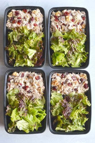 Meal Prep Cranberry Walnut Chicken Salad {GF, Low Cal}