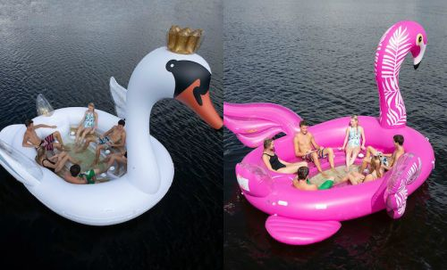 These New Inflatable Party Island Floats At Sam's Club Feature Glitter-Filled Swans & Flamingos