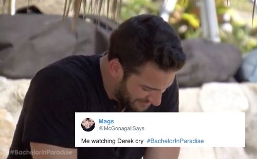 These Tweets About Derek Crying On 'Bachelor In Paradise' Show So Much Love
