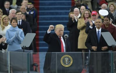 What was conspicuous by its absence from President's Trump inauguration speech?