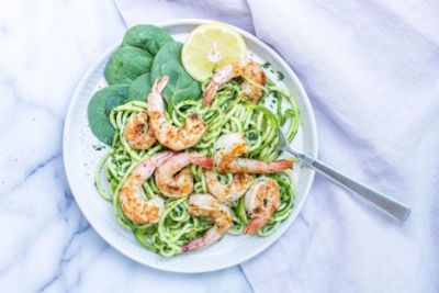 The Be Well Recipe: Grilled Shrimp with Spinach Pesto Zoodles