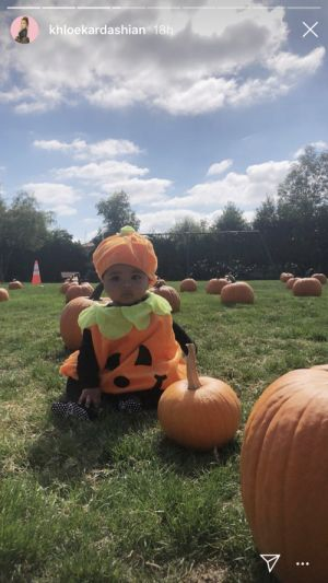 Khloe Kardashian's Photos Of True Thompson In A Pumpkin Costume Are Too Adorable For Words