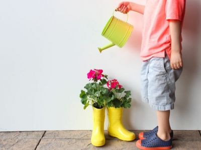 Upcycle Your Kid's Old Rain Boots & Turn Them Into Cute Planters