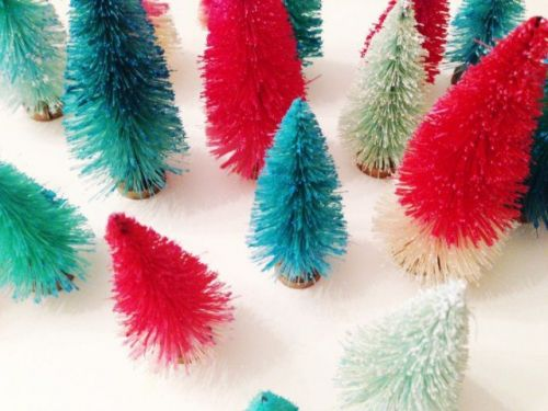Easy DIY Dip Dyed Colorful Bottle Brush Trees for Christmas