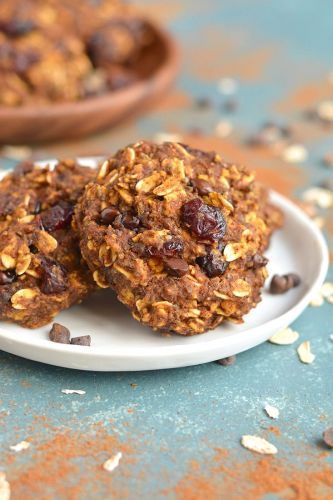 Pumpkin Oatmeal Cranberry Cookies {GF, Low Cal}