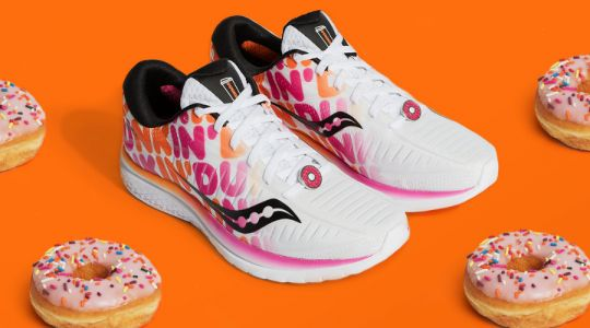 The Saucony X Dunkin' Kinvara 10 Sneaker Features The Iconic Dunkin' Logo & A Pink Donut