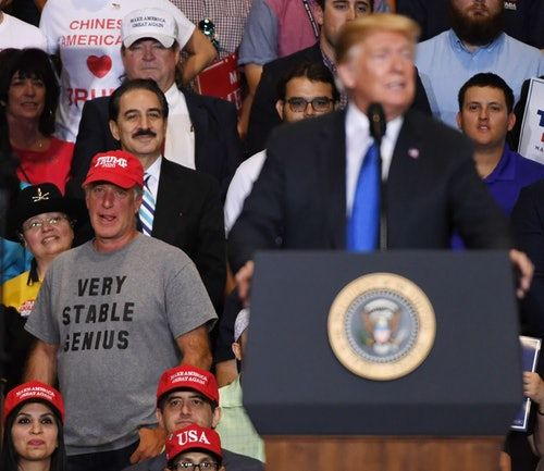 """This Man's """"Very Stable Genius"""" Shirt At Donald Trump's Nevada Rally Is Pure Genius"""