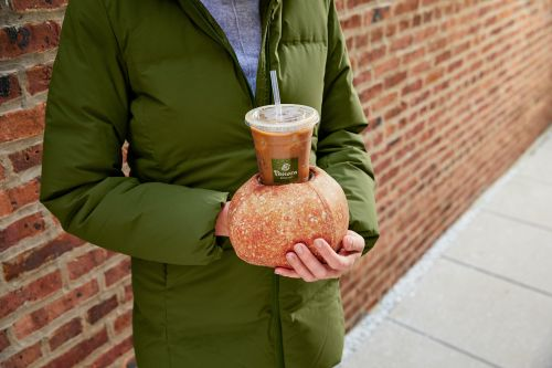Panera Bread's New Iced & Toasty Bread Bowl Glove Is A Coffee Holder & A Hand Warmer