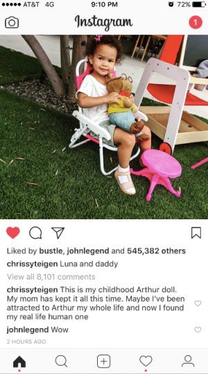 Chrissy Teigen's Instagram Of Luna & Arthur Is Her Funniest John Legend Troll Yet