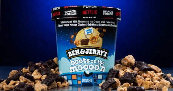 Ben & Jerry's Boots On The Moooo'n 'Space Force' Ice Cream Flavor Includes Cow-Shaped Fudge